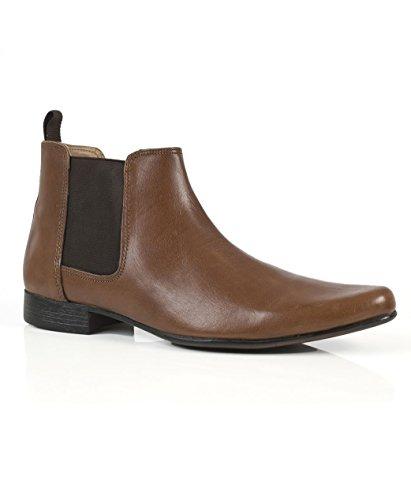 Rojo cinta Obispo marrón para hombre botas de Chelsea de piel oficial UK 7–12