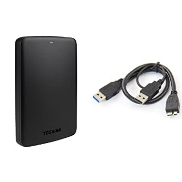 ec51deaf6 Toshiba Canvio Basics 1TB Portable External Hard Drive 2.5 Inch USB 3.0 -  Black - HDTB310EK3AA   AKORD USB 3.0 Type A Male to Type B Micro USB Y  Cable  ...