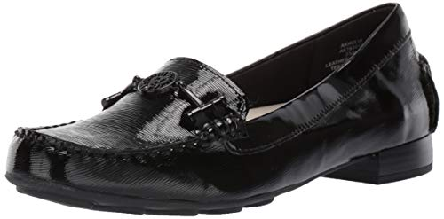 Anne Klein Women's HULIA Casual Loafer, Black Patent 8 M US