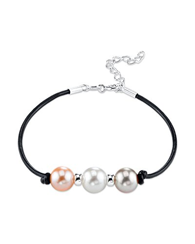 - THE PEARL SOURCE 8-9mm Genuine Multicolor Freshwater Cultured Pearl & Silver Rondelle Leather Bracelet for Women