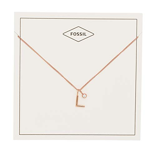 Fossil Women's Letter L Rose Gold-Tone Stainless Steel Necklace, One Size -
