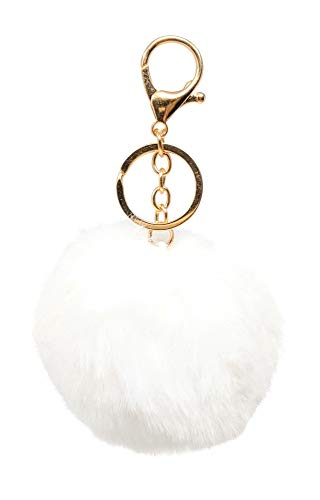 SIMPLICHIC Faux Fox Rabbit Fur Pom Pom Keychain Bag Purse Charm Gold Ring Fluffy Fur Ball Assorted Color and Design - White ()