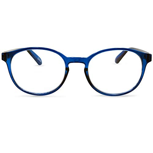 In Style Eyes Opulent Oval Clear Frame Reading Glasses Set with Case Blue +3.50 by In Style Eyes