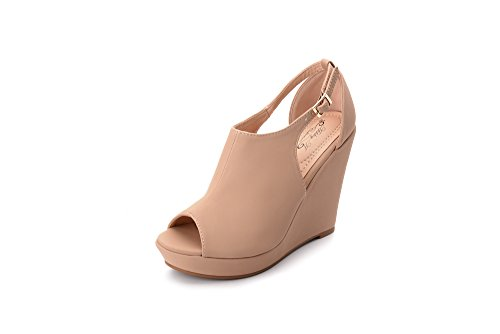 Ashley A Collection LISA02 Women's Platform Wedges Cutout Side Straps,Peep-Toe Ankle Bootie. NUDE10 (Toe Peep Slingback Wedge)
