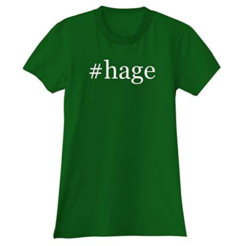 The Town Butler #Hage - A Soft & Comfortable Hashtag Women's Junior Cut T-Shirt, Green, Medium