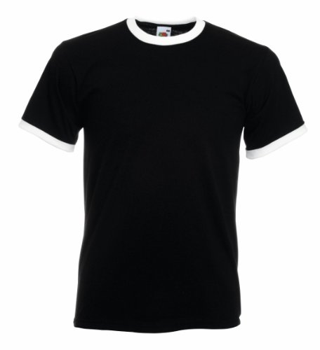 Fruit of the Loom Men's Contrast Ringer Short Sleeve T Shirt Black/White XL (Of Fruit Ringer The Loom Tee)