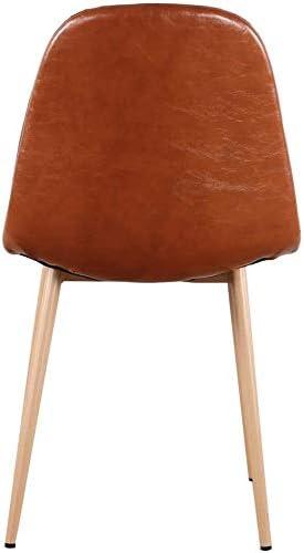 JIASEN 1234 Lot de 4 chaises de salle à manger avec dossier en cuir synthétique et pieds en métal noyer Design moderne pour salle à manger, cuisine et salon (marron)