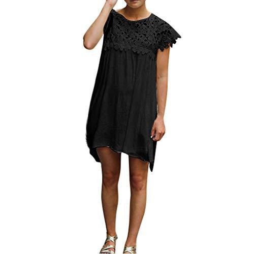 Londony Women's Lace Patchwork Loose Casual Mini Chiffon Dress Crewneck Half Sleeve Summer Chiffon Tunic Dress Black from Londony ❤️ Prime Day
