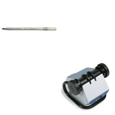 KITBICGSM11BKROL67236 - Value Kit - Rolodex Open Rotary Business Card File w/24 Guides (ROL67236) and BIC Round Stic Ballpoint Stick Pen (BICGSM11BK)