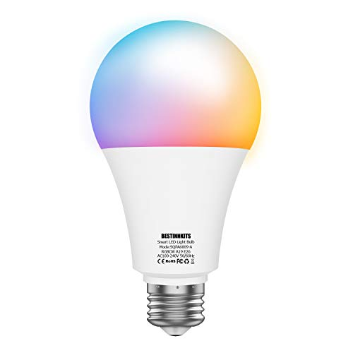 Smart LED Light Bulb, BESTINNKITS Warm White & Cool White & Color Changing Light Bulb E26 60W Equivalent Dimmable LED Smart Wifi Bulb Compatible with Alexa & Google Assistant, No Hub Required (1 Pack)