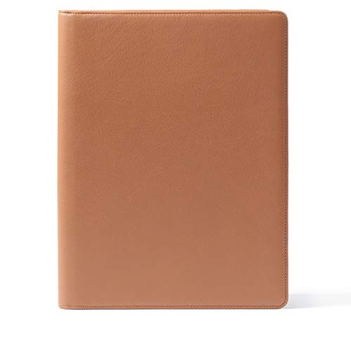 Leatherology Folder with Pockets & Pen Holder - Full Grain Leather - Cognac (Brown)