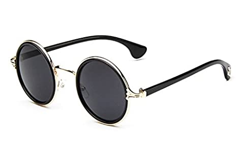Flowertree Women's S5891 Horn Rimmed Metal Frame Round 53mm Sunglasses (black+gold rim+grey) - Wire Frame Gradient Sunglasses