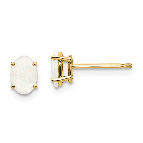 14k Yellow Gold Opal Post Stud Earrings October Birthstone Prong Gemstone Fine Jewelry Gifts For Women For Her ()