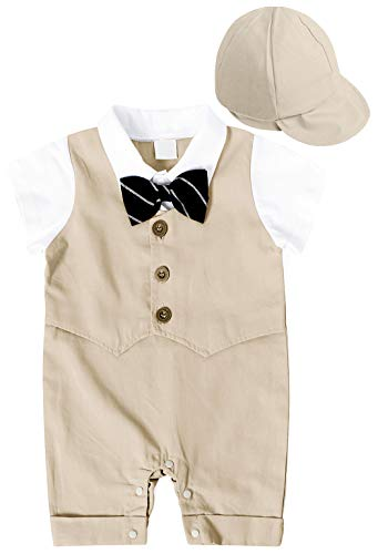 MetCuento Baby Boy Gentleman Outfit Short Sleeve Bowtie Tuxedo Onesie Summer Wedding Dress Suit Infant Clothes Khaki (6-12 Months)