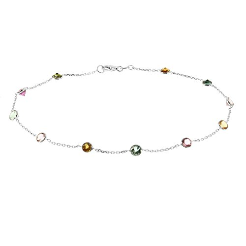 14k White Gold Handmade Station Bracelet With Round 4mm Tourmaline Gemstones (7 - 8.5 Inches)