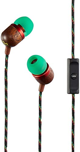 - House of Marley, Smile Jamaica Wired In-Ear Headphones - In-line Microphone with 1-Button Remote, Noise Isolating, Durable, Tangle Free Cable, EM-JE041-RA Rasta