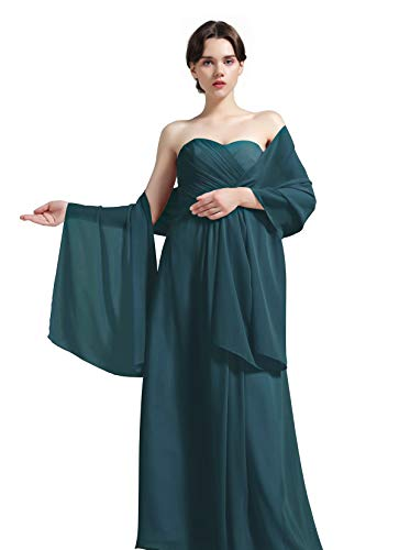 Sheer Soft Chiffon Bridal Women's Shawl For Special Occasions Teal Green (Sheer Scarf Long)