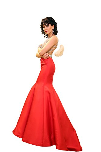 Jovani Crystal Embellished Bodice Mermaid Sleeveless Open Back Mikado Gown 22623, Red/Nude, Size 6 ()