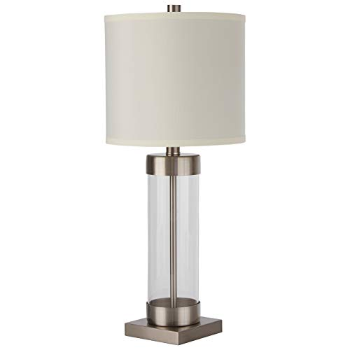 Stone & Beam Glass Column Living Room Table Desk Lamp With Light Bulb and Linen Shade - 10 x 10 x 23 Inches, Brushed Nickel