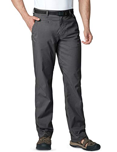 CQR Men's Outdoor Adventure Rugged Pants Hiking Camping Stretch Durable UPF 50+ Quick Dry Cargo Trousers, Driflex Straight(txp420) - Charcoal, 32W/34L