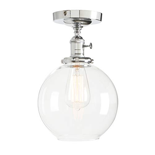 Permo Vintage Ceiling Light 1-Lights Pendant Lighting Chandelier with 7.9 Globe Clear Glass (Chrome)