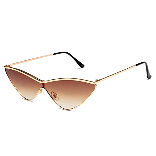 Livhò Triangle Sunglasses for Women Cat Eye Sunglasses UV400 with Golden Plating Metal Frame Fashion Design Gold Brown