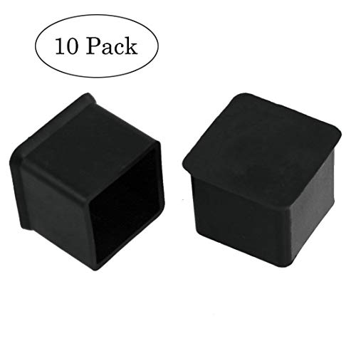 (MELIFE Square Anti-Slip Rubber Leg Tips Covers Furniture Protectors 1 inch x 1 inch Black 10Pcs)