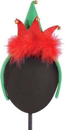GALLERIE II Christmas Santa's Helper Elf Hat Headband Fascinator Hair Accessory -