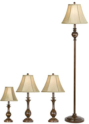 Traditional Font Floor Table Lamps Set of 4 Bronze Beige Bell Shade for Living Room Family Bedroom Bedside Nightstand - Barnes and Ivy Base 1 Bronze Floor Lamp