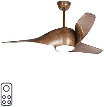 QAZQA Moderno Ventilador de techo con luz y mando a distancia de madera con LED con control remoto - Sirocco 50 /Acero Redonda Incluye LED Max. 1 x 18 Watt: Amazon.es: Iluminación