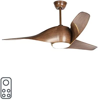 QAZQA Moderno Ventilador de techo con luz y mando a distancia de madera con LED con control remoto - Sirocco 50 /Acero Redonda Incluye LED Max. 1 x 18 Watt