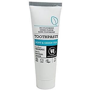 Urtekram   Organic Toothpaste With Mint And Green Tea   Without Fluorine   Vegan   75 Ml
