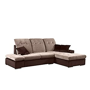 Divano Roma Furniture Classic Large Brush Microfiber L-Shape Sectional Sofa Couch with Chaise Lounge and Adjustable Headrest
