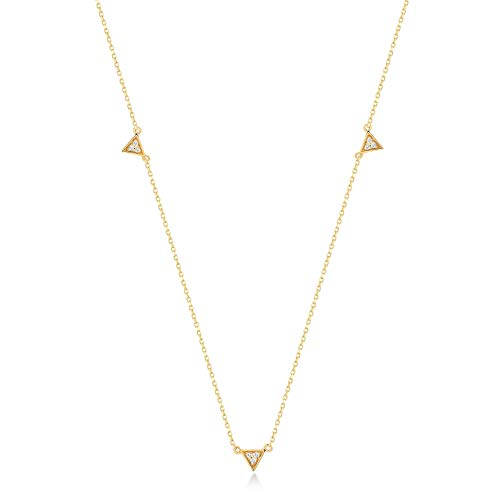 (Gelin 14k Solid Gold Triangle Pave 0.03 ct Diamond Station Pendant Chain Necklace 18 Inc)