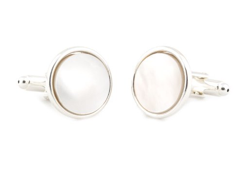 Sterling Silver Plated Mother of Pearl Cufflinks and Studs Formal Set with Presentation Box by Cuff-Daddy (Image #2)