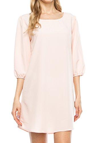 klkd-womens-solid-3-4-sleeve-boatneck-bishop-shift-dress-made-in-usa-blush-medium