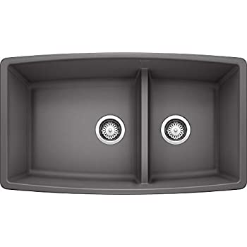 Image of Home Improvements Blanco 441474 PERFORMA SILGRANIT 33' Double Bowl Undermount Low Divide, Cinder Kitchen Sink, 10.00 x 19.00 x 33.00 inches