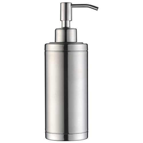 Soup Dispenser - KVADRAT Full Stainless Steel Countertop Sink Soap Dispenser Prime 300 ML Liquid Bottle for Kitchen & Bathroom Hand Dish Lotion (Brushed Nickel LAB1-04)