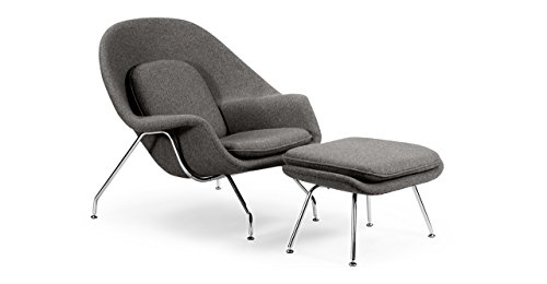 Kardiel Womb Chair & Ottoman, Cadet Grey Tweed Cashmere Wool