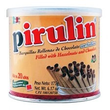 Pirulin Rolled Wafer Cookies with Hazelnut & Chocolate 6.17oz 2 Pack