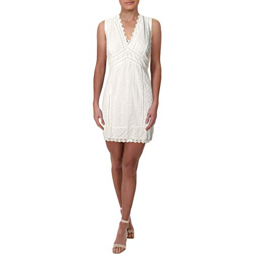 - French Connection Womens Lace A-Line Mini Dress White 6