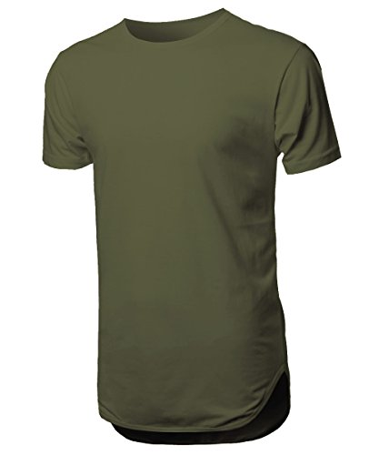 Hat and Beyond Mens Basic Hipster T Shirts Hip Hop Soft Casual Tee (2X-Large, 1hc01_Military -