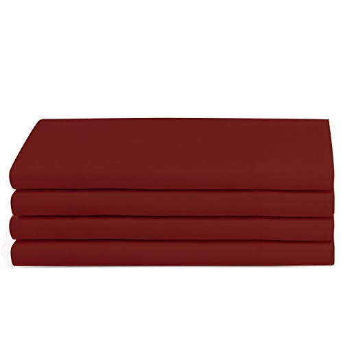 Beckham Hotel Collection Luxury Pillow Case (4 Pack) - Soft-Brushed Microfiber, Hypoallergenic, and Wrinkle Resistant - King - Burgundy