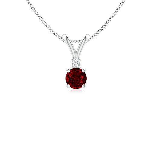 Round Ruby Solitaire V-Bale Pendant with Diamond in 14K White Gold (4mm Ruby)