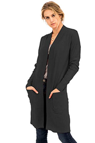 Solid Soft Long Line Long Sleeve Side Slits Open Cardigan Charcoal L