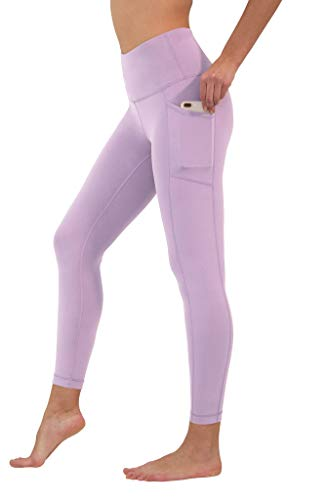 90 Degree By Reflex High Waist Tummy Control Interlink Squat Proof Ankle Length Leggings - Muted Orchid - Large