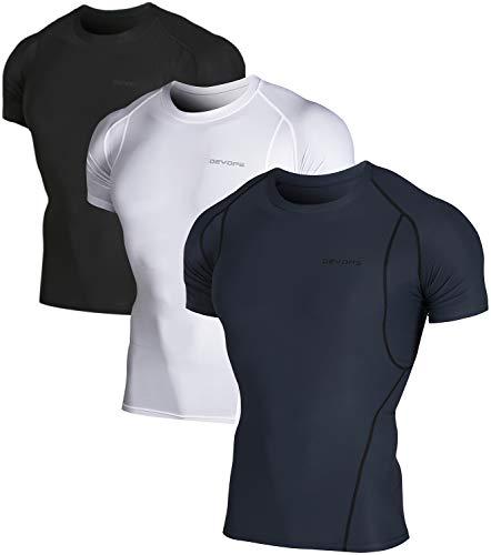 DEVOPS Men's 3 Pack Cool Dry Athletic Compression Short Sleeve Baselayer Workout T-Shirts (Large, Black-Charcoal-White)
