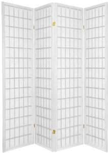 4 Panel Shoji Screen Room Divider, Cherry Finish Cherry 71 h X 70 w White, 4 panel