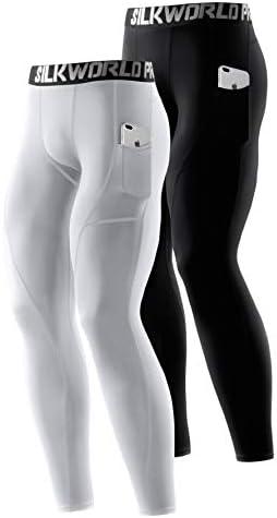 SILKWORLD/Mens 3 Pack Compression Shorts/Cool Dry Pockets Running/Tights