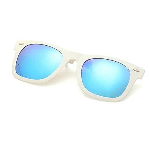 LOMEDO Retro Polarized Wayfarer Clip On Sun Glasses Mirrored Lense White - Sunglasses For Weird Sale